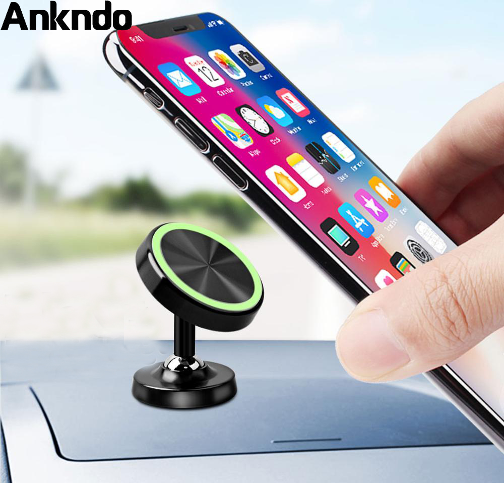 Ankndo Magnetic Phone Holder In Car Luminous Car Phone Stand Magnet Mobile Phone Charger Stand 360 Rotatable Magnetic Holder