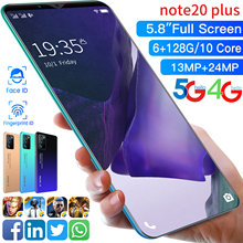 Galxy-smartphone note 20 Plus, teléfono móvil de 5,8 pulgadas, 64GB, 128GB, 13 + 24MP, 4800mAh, SIM Dual, Android 10, desbloqueo facial, diez núcleos, MTK6799