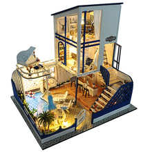 DIY Wooden DollHouse Kits Miniature with Furniture Light Swimming Pool Big Villa Assembled Doll House for Children Adult Gifts