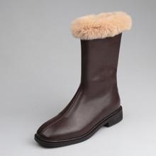 Женские зимние ботинки; зимние теплые ботинки в байкерском стиле на кроличьем меху; плюшевая обувь