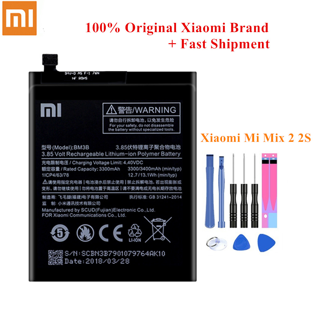 100% Original <font><b>Battery</b></font> BM3B For Xiaomi <font><b>Mi</b></font> <font><b>Mix</b></font> 2/ <font><b>Mi</b></font> <font><b>Mix</b></font> <font><b>2S</b></font> 3300/3400mAh Full Capacity Genuine Xiao <font><b>Mi</b></font> Batteria Akku +Tools image