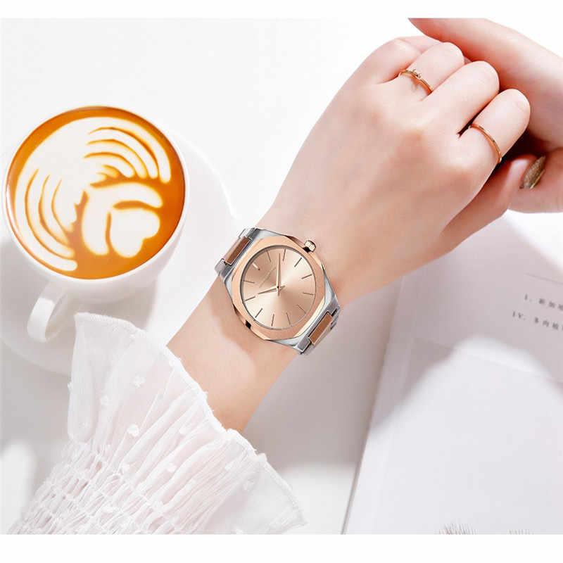 Fashion Gold Sliver Watch Women Top Brand Luxury Ultra Thin Quartz Waterproof Wristwatches Ladies Full Steel Simple Clock 2019