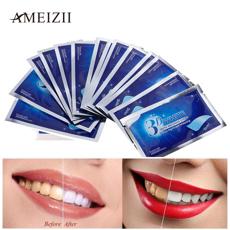 AMEIZII 28Pcs/14Pair Teeth Whitening Strips 3D Advanced Tooth Dental Safe Bleaching Tools Oral Hygiene Care Remover Teeth Stain