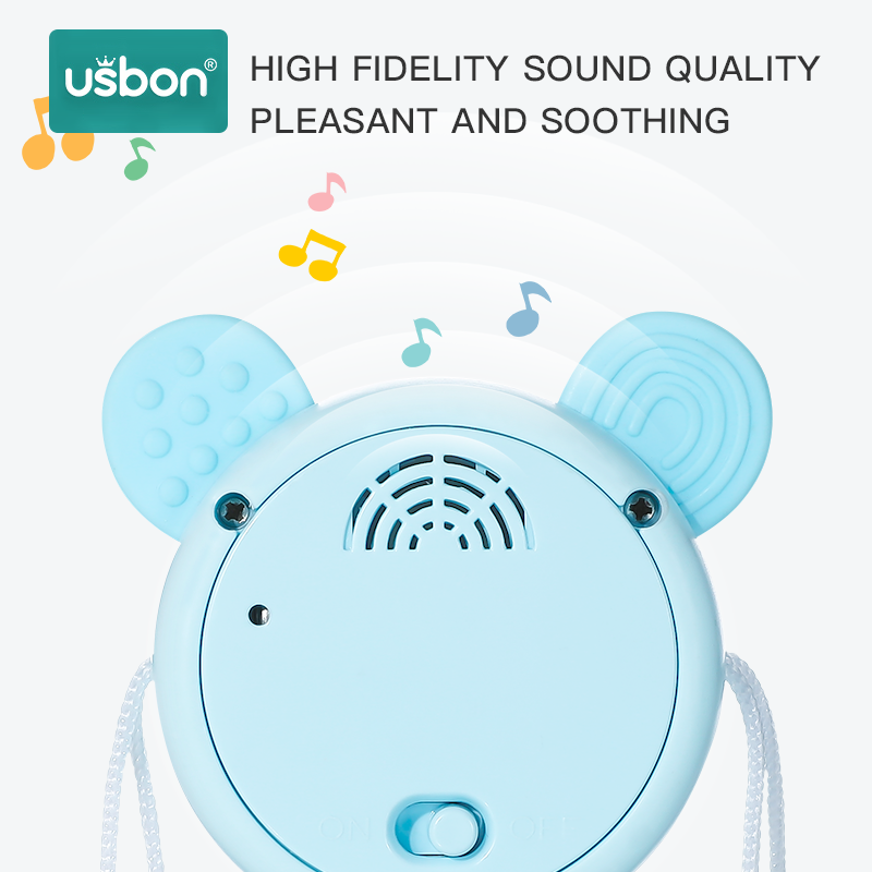 Usbon Rattle Pellet Drum Cartoon Teether Music Light Instrument Toy Electronic Hand Bell for Toddler Children Kids Spin Toy Cute