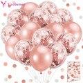 20 шт., латексные воздушные шары с конфетти, 1, 2, 3, 4, 5, 18, 21, 30, 40, 50 лет