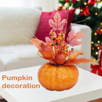 Dekoracje z dyni realistyczne liście klonu Faux dynie sztuczne warzywa na Garland Halloween dekoracje na święto dziękczynienia tanie i dobre opinie CN (pochodzenie) Nowoczesne Foam Material Blat wazon