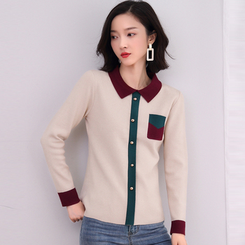 New Women Knitted Pullovers POLO Collar Sweaters Elegant Chic Contrast Color Knitted Sweater Pull Femme Female Top Autumn Winter turtleneck fashion patchwork knitted sweater women pullovers contrast color streetwear sweaters tops autumn winter pull femme