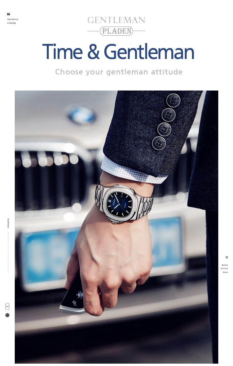 luxo marrom couro relógio esporte caso aço