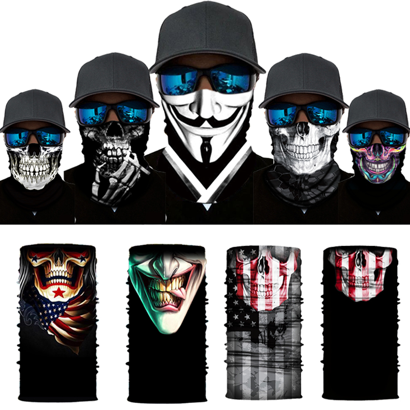 Movie Clown Anime Skull Seamless Balaclava Magic Scarf Heaewear Outdoor Sports Bandanas Men Cycling Hiking Mask Neck Gaiter