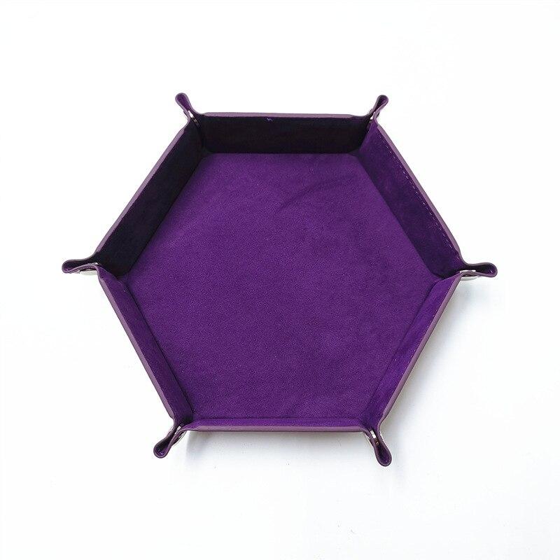 Игральные кости DND лоток dados de rol для хранения 14 цветов шестигранный бархатный тканевый Пинцет дисковый складной ящик для хранения pu лоток Настольный ящик для хранения - Цвет: Фиолетовый