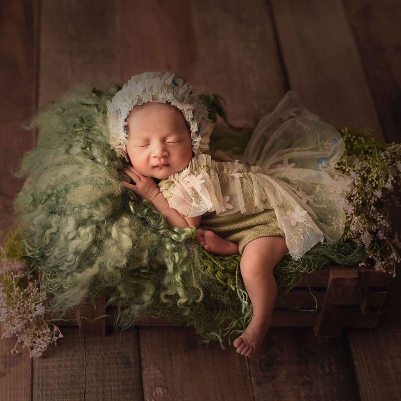 4Pcs Newborn Photography Props Suit Lace Romper Hat Pillow Headband Set Outfits K1KC