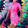 Cor fluorescente roupas femininas conjuntos de ciclismo triathlon terno manga curta skinssuit conjuntos maillot ropa ciclismo macacão macacão ciclismo feminino kafitt roupas femininas com frete gratis roupa de ciclismo 18