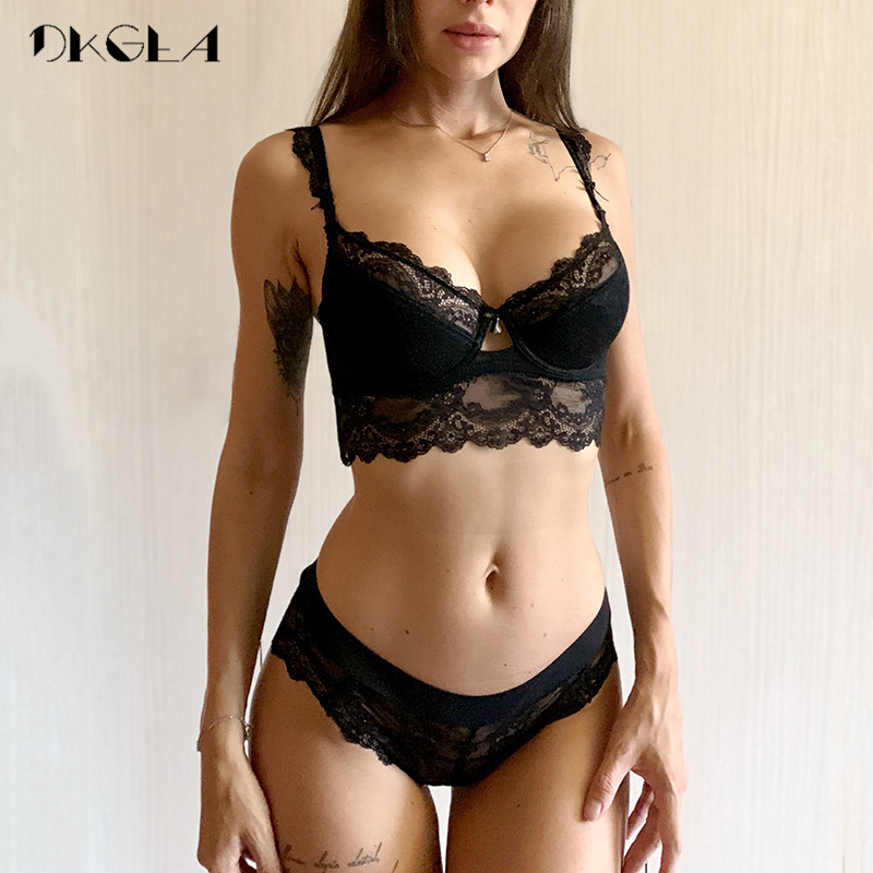 New Lace Lingerie   Sets   Plus Size 36 38 40 Ultrathin Sexy Underwear   Set   Women Cotton Comfortable Brassiere Black Push Up   Bras