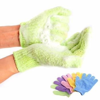 Peeling do ciała Peeling do ciała złuszczający rękawica do mycia Peeling do ciała gąbka szczotka Peeling do ciała myjka złuszczająca rękawica do ciała tanie i dobre opinie HomeJSDH CN (pochodzenie) GLOVE Czyszczenie SL9IE23 Ciało Shower Scrub Gloves Green Blue Red Pink Purple 100 Brand New