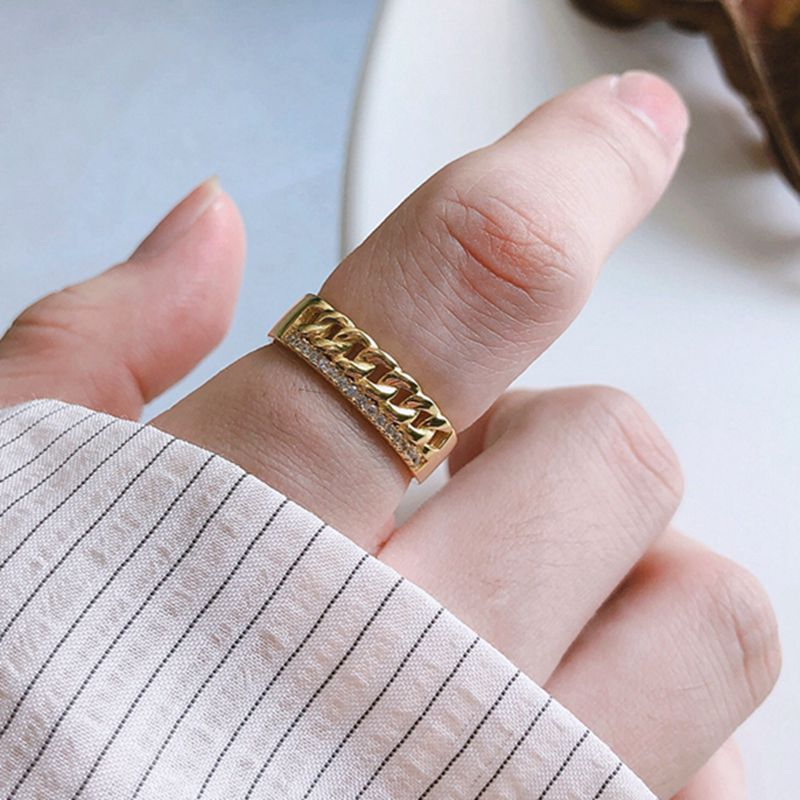 Silvology 925 Sterling Silver Zircon Chain Rings Weave Glossy Design Chic Texture Rings For Women 2019 Silver 925 Jewelry Gold