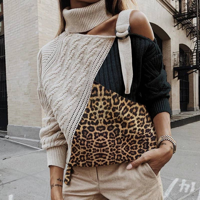 Leopard Knitted Patchwork Cold Shoulder Turtleneck Women Sweater Plus Size Female Sweaters Long Batwing Sleeve Ladies Pullover