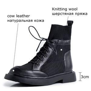Image 3 - ALLBITEFO en cuir véritable + tricot à talons bas femmes bottes confortables bottines pour femmes automne filles chaussures femmes talons