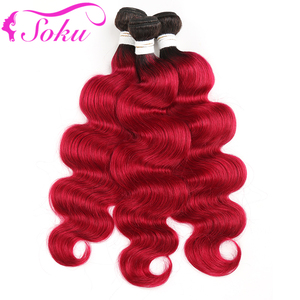 Image 3 - 1B בורגונדי ברזילאי גוף גל שיער טבעי חבילות עם פרונטאלית 13x4 soku 3 pcs OMBRE אדום שיער חבילות עם סגירת ללא רמי שיער