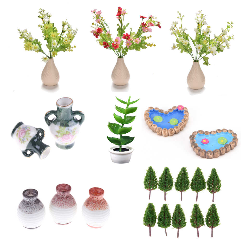 Untuk DIY Mikro Lanskap Taman Pot Tanaman Bunga Pohon Kotak Tanaman Hiasan Dekorasi Aksesori Model Rumah Boneka