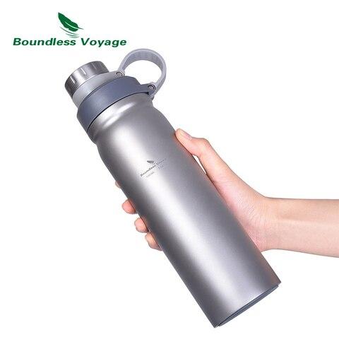 boundless viagem titanio garrafa de agua com tampa dupla alca 1000ml grande capacidade cantina para