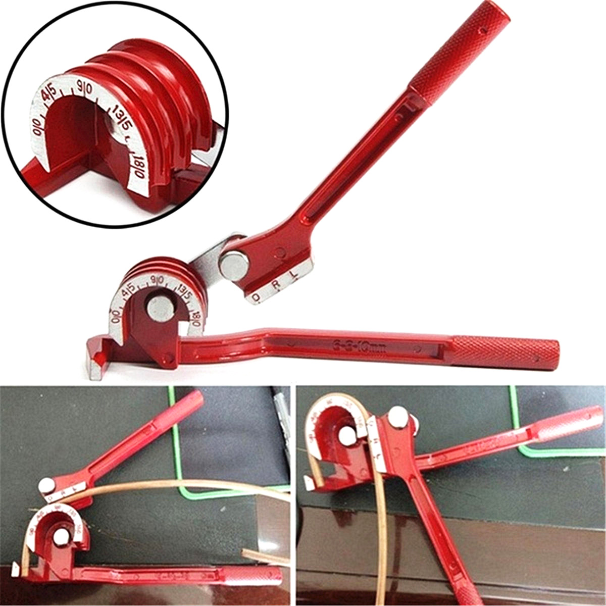 Hand Held Pipe Bender 0-180° Heavy Duty Bends 6,8,10mm Copper Pipes and Tubing