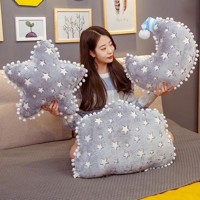 Night Lightening Sky Grey Cloud Star Moon Shaped Pillow Functional Baby Bed Decor Overnight Sleeping Companion 1