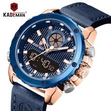KADEMAN ใหม่นาฬิกาผู้ชายแฟชั่น QUARTZ นาฬิกาผู้ชายสุดหรูแบรนด์นาฬิกาปลุกหนังกันน้ำ 3ATM Relogio Masculino