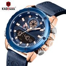 Часы наручные KADEMAN Мужские кварцевые, спортивные модные роскошные брендовые водонепроницаемые с кожаным ремешком, с датой и будильником, 3 АТМ