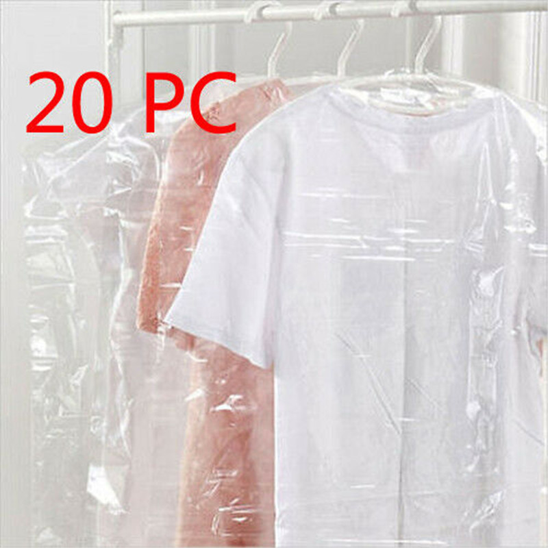 20PCS Clothes Dust Cover Plastic Transparent Garment Jacket Outdoor Dustproof Storage Bag Household Wardrobe Hanging Dust Cover