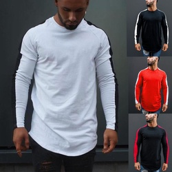 Korea Style Slim Fit Men Casual Long Sleeve T-Shirt Masculina Bodybuilding Black Red O Neck Plain Male Tee Tops Roupa Mujer