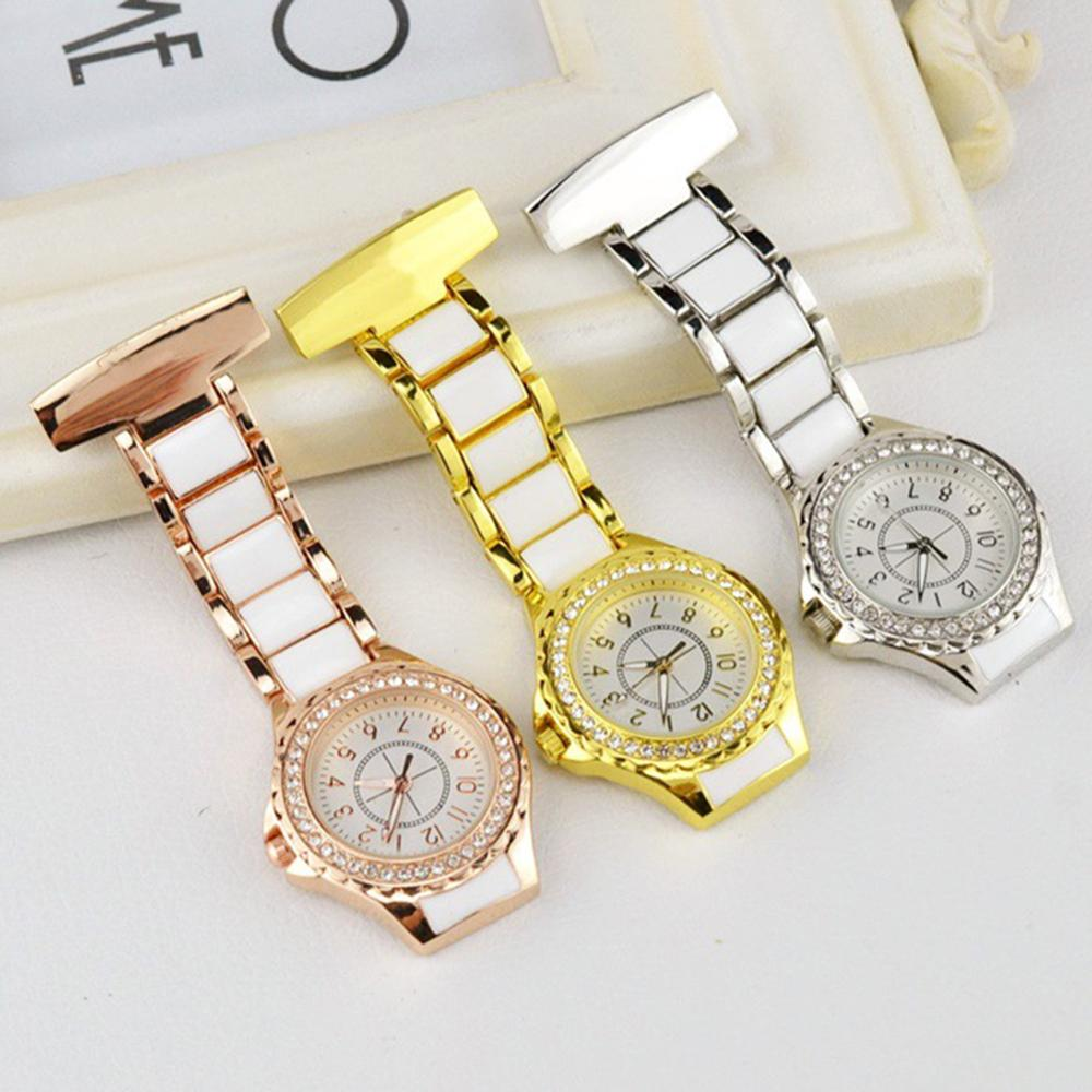Fashion Unisex Rhinestone Waterproof Pocket-watch Round Dial Arabic Number Analog Quartz Nurse Watch Doctor Watch Medical Watch