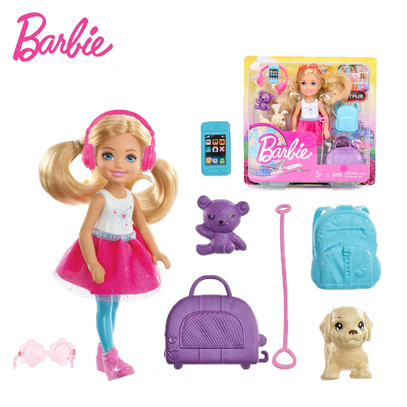 14cm Original Barbie Dolls Barbie Dreamhouse Adventures Travel Chelsea Doll Set With Puppy Multi Colored Accessories