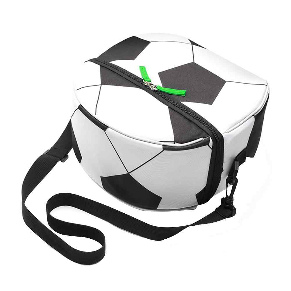 Bolsa de almuerzo de fútbol aislante impermeable caja de comida portátil para niños y niñas