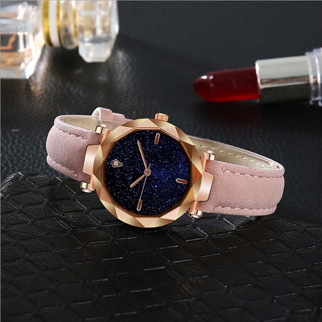 New Fashion Rhinestone Watches Women Simple And Stylish Luxurious Starry Convex Mirror Leather Strap Watch Relogio Feminino #10