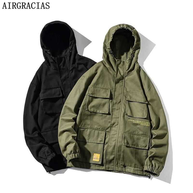 AIRGRACIAS Jacket Men Spring Autumn Casual Coats Solid Color Mens Sportswear 95% Cotton Hoodies Jackets Male Bomber Jackets 5XL