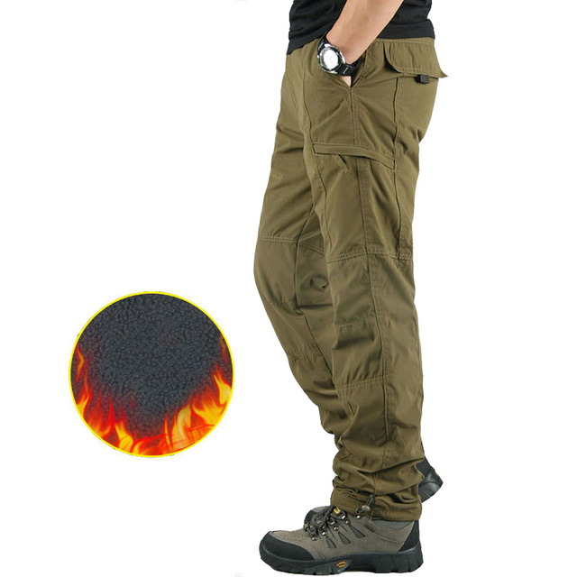Men's Cargo Pants Thick Fleece Multi Pockets Military Tactical Pants Cotton Men Outwear Straight Casual Trousers for Winter PA23 1