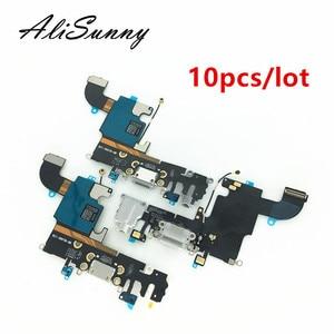 Image 1 - AliSunny 10pcs טעינת נמל Flex כבל עבור iPhone 6 6S 7 8 בתוספת XR XS USB Dock מחבר מטען יציאות עבור iPhone X 5 5S 5C