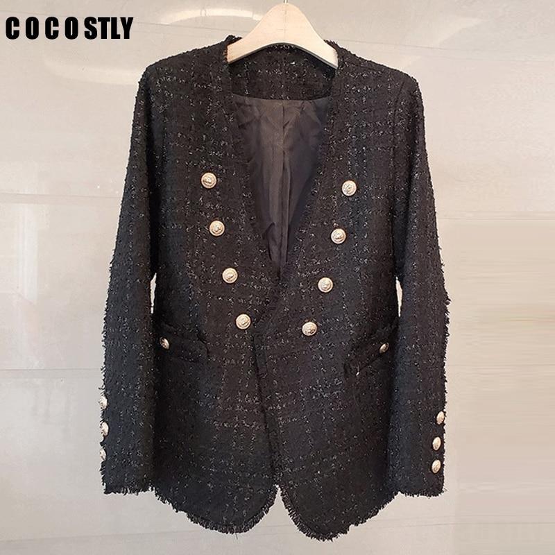 Autumn Winter New V-Neck Tweed Blazer Women Coat Small Fragrance Tassel Tweed Jacket Long-Sleeved Fashion Suit Jacket Coat