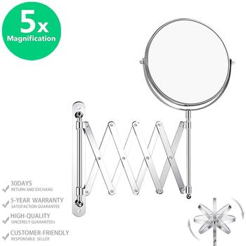 Double-Sided Magnifying Makeup Mirror, 7 Inch Diameter 1X/5X Wall Mounted Extension Adjustable Rotating Vanity Makeup Mirror bath mirror cosmetic mirror 1x 3x magnification suction cup adjustable makeup mirror double sided bathroom mirror
