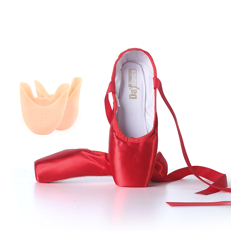 Red Ballet Pointe Shoes Satin Ballerina Ballet Shoes Girls Women Ballet Dance Wear Practice Lesson Performance Swan Lake