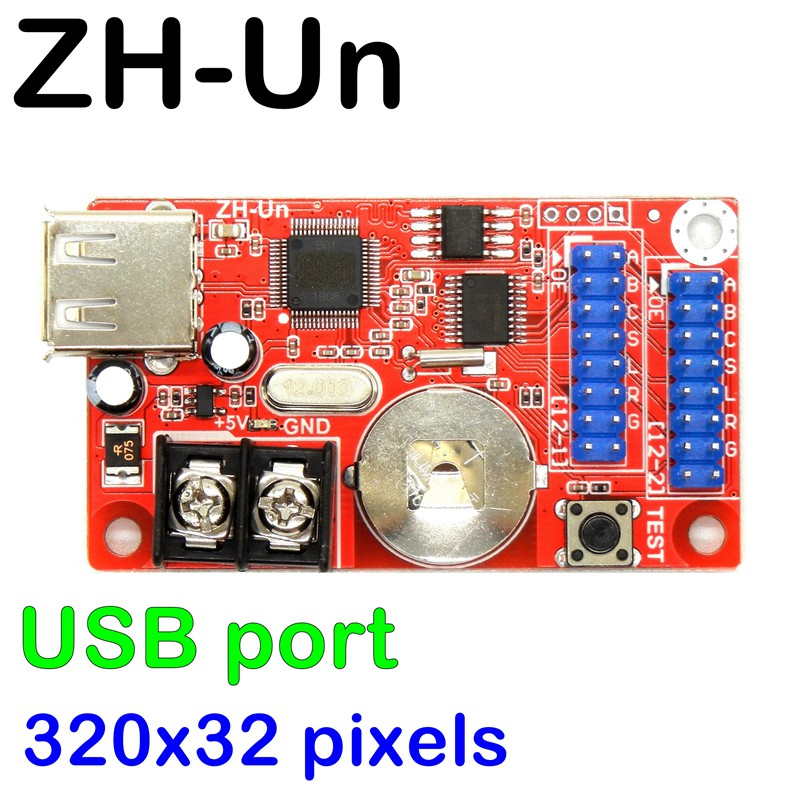 Zh-un USB/u-disk 320*32 píxeles max 20 piezas led P10 Módulo de soporte para panel led electrónico kit con luz led DIY pantalla led