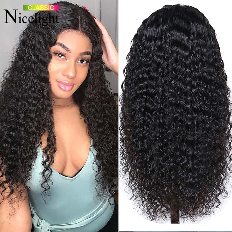 Nicelight Hair Deep Wave Wig Human Hair Lace Front Wig Brazilian Natural Color Remy HD Lace Wig 150% Density 13X4 Lace Wig