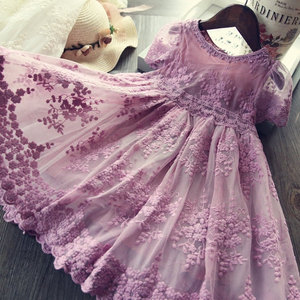 Girls Dress Embroidery Princess Party Autumn Spring Kids Children Clothes Elegant Purple And White 3-8ys Lace Girls Dresses