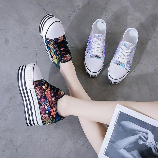 2019 femmes baskets plate-forme paillettes brillant Bling chaussures mode décontracté femme dame ballerines baskets Espadrilles Z5-86