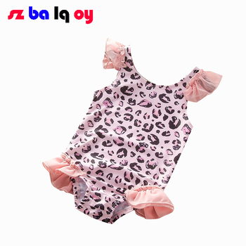The Girl Summer outdoor swimsuit Explosive girls' one-piece swimsuit Flying sleeve print cute swimsuit for kid Triangle swimsuit фото