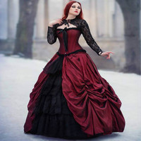 Amazing Red And Black Gothic Wedding Dress Ball Gown Medieval Vampire Bride Dress Lace Up 50S Wedding Gowns robe de mariee 2019
