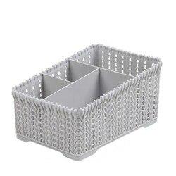 Корзина для хранения косметики для ванной, пластиковая крышка, настольная корзина для хранения мусора из искусственного ротанга (серый)