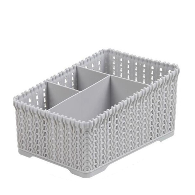 Bathroom Cosmetics Storage Basket Basket Plastic Cover Desktop Debris Imitation Rattan Storage Basket(gray)