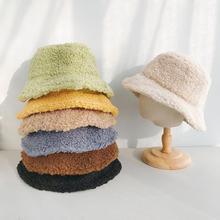 Hats Bucket-Hat Winter Korean-Fashion Solid-Color Women COKK for Cashmere Thick Warm
