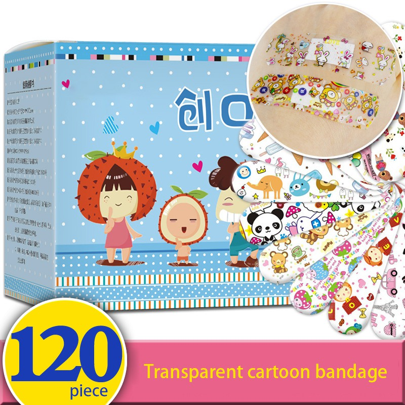 120 Pcs Children Cartoon Bandages Adhesive Bandages Wound Plaster First Aid Hemostasis Band Aid Sterile Stickers For Kids